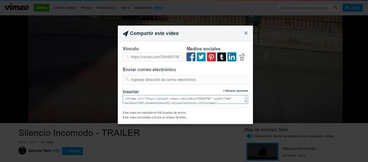Cómo insertar un vídeo de Vimeo