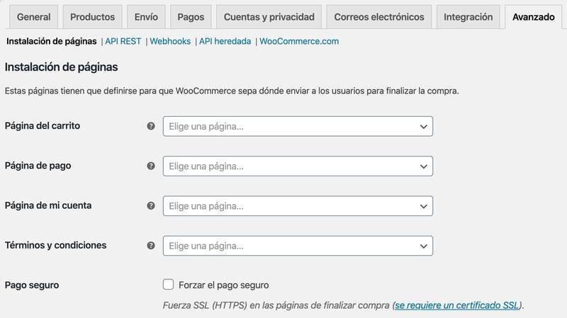 configurar WooCommerce: ajustes avanzados