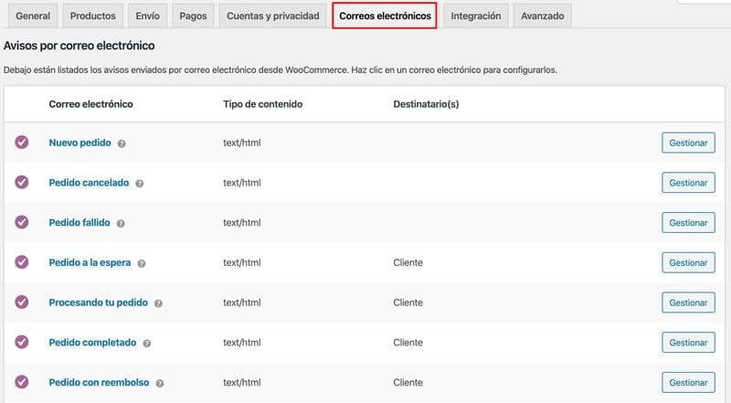 configurar woocommerce: ajustes de correos electrónicos