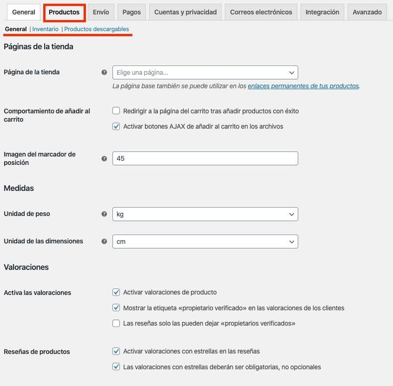 configurar WooCommerce: ajustes de productos