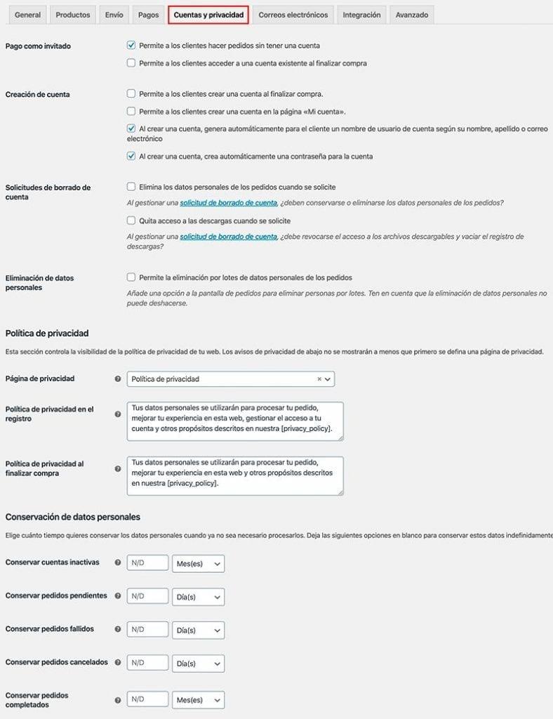 configurar woocommerce: cuentas y privacidad