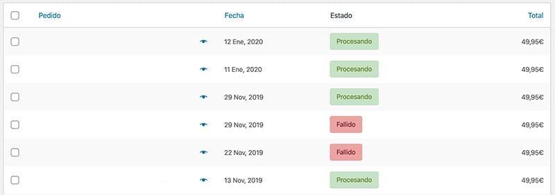 configurar WooCommerce: gestión de pedidos