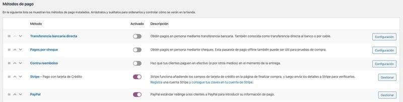 configurar WooCommerce: métodos de pago