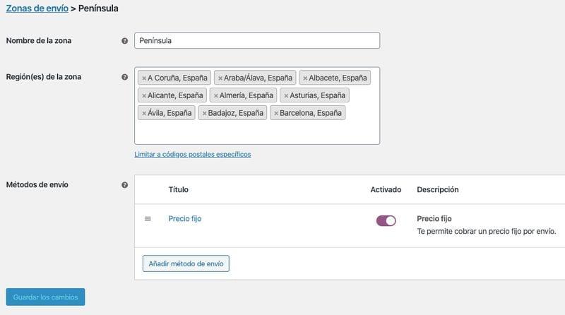 configurar WooCommerce: zonas de envío