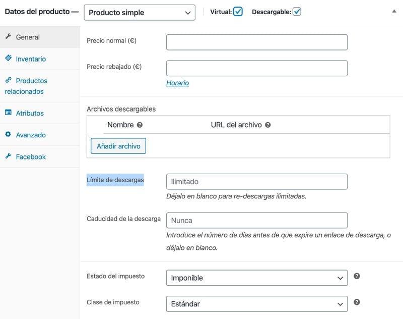 Crear una tienda online en WordPress: producto simple virtual y descargable