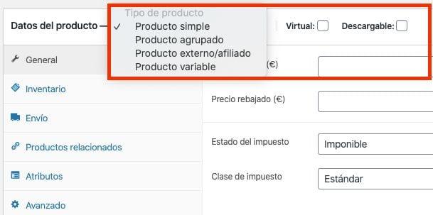 Crear una tienda online en WordPress: tipos de producto en WooCommerce