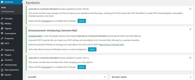 Notificaciones y mensajes internos del CMS WordPress