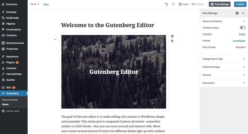 Plugins para maquetar páginas en WordPress: Gutenberg