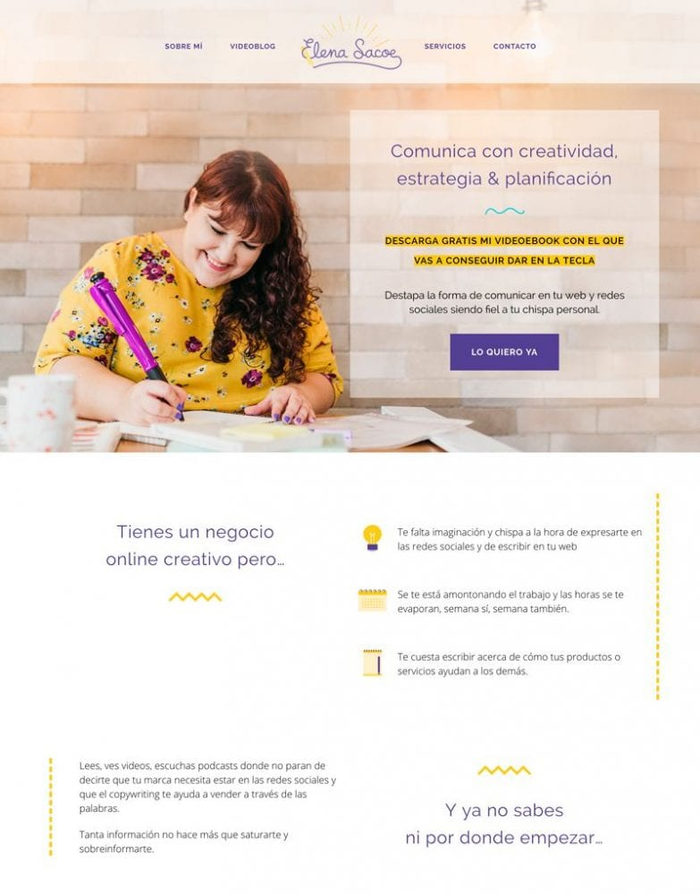 Consejos para diseñar páginas web creativas: Elena Sacoe