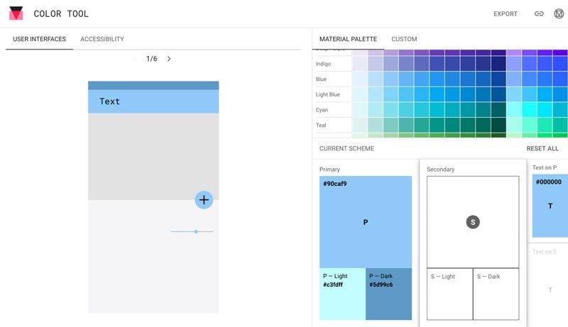 paletas de colores: Material Desing