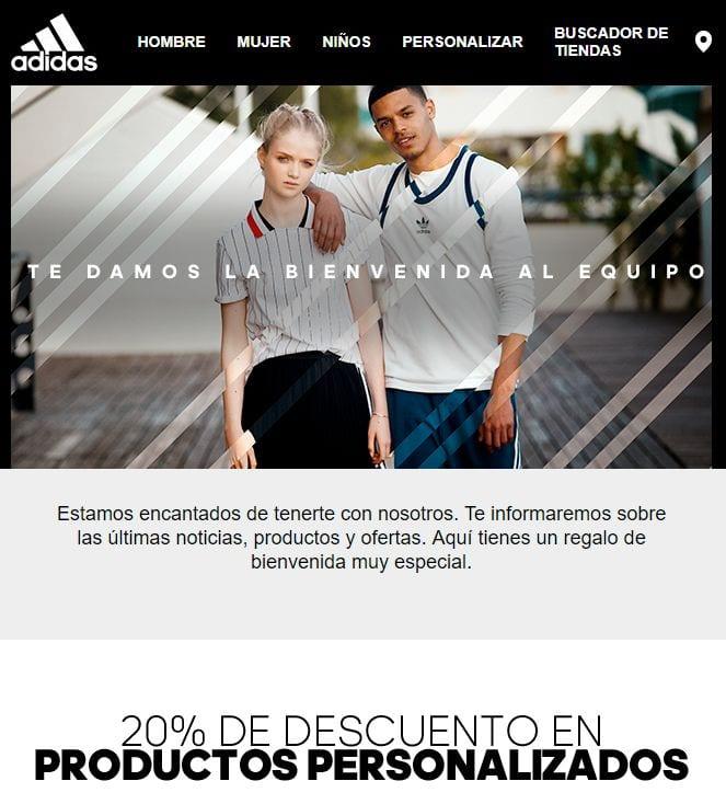 Cómo crear una newsletter: ejemplo Adidas