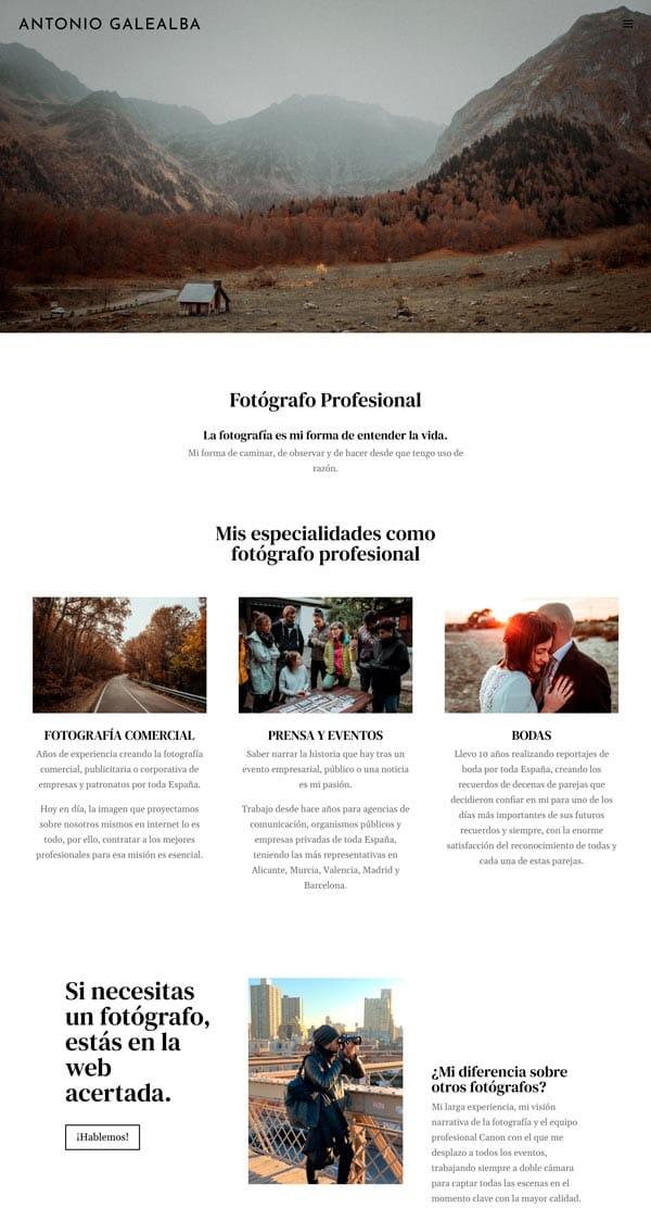 Ejemplos Divi: web de servicios
