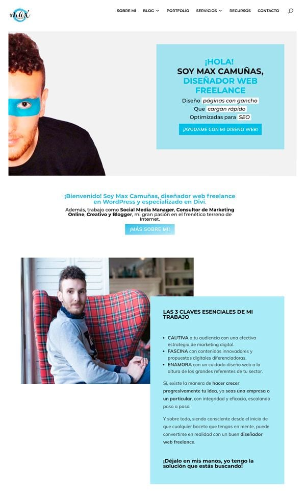 Páginas web creativas: Max Camuñas