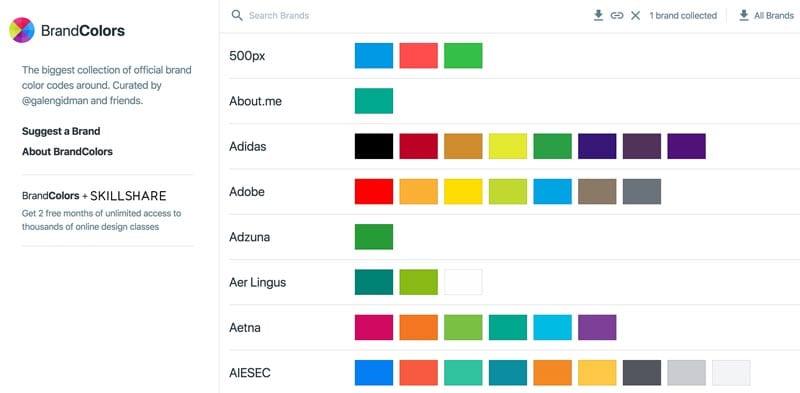 paletas de colores: BrandColors