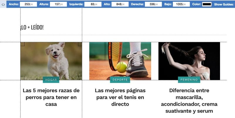 extensiones para Chrome: Page Ruler