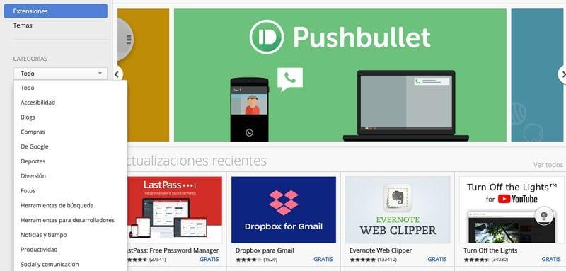 descargar e instalar extensiones en Google Chrome