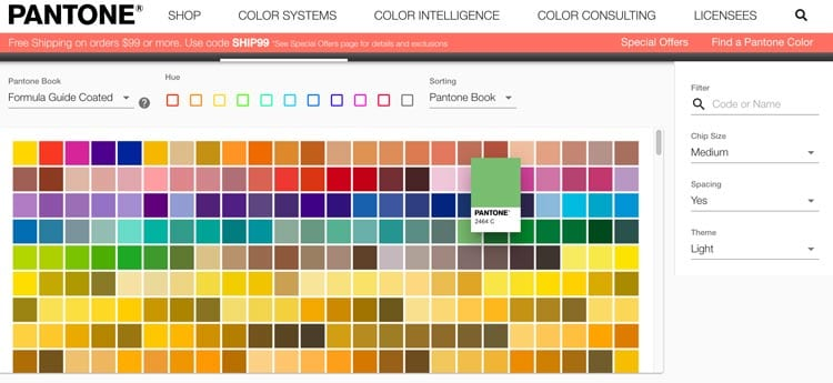 paletas de colores: Find a Pantone Color