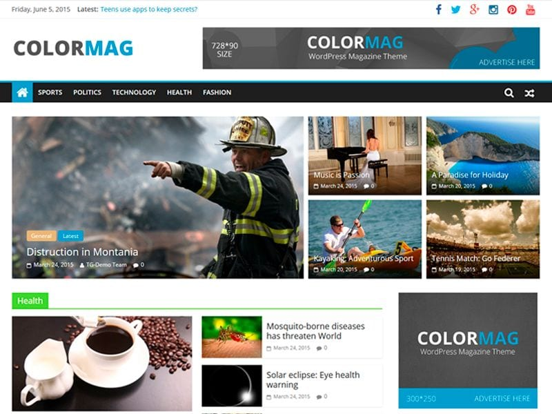 Plantillas WordPress gratis: ColorMag