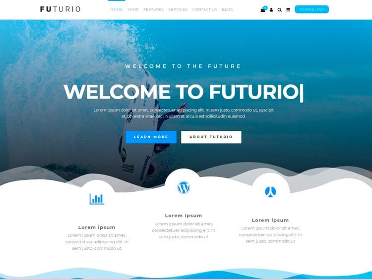 Plantillas WordPress gratis: Futurio