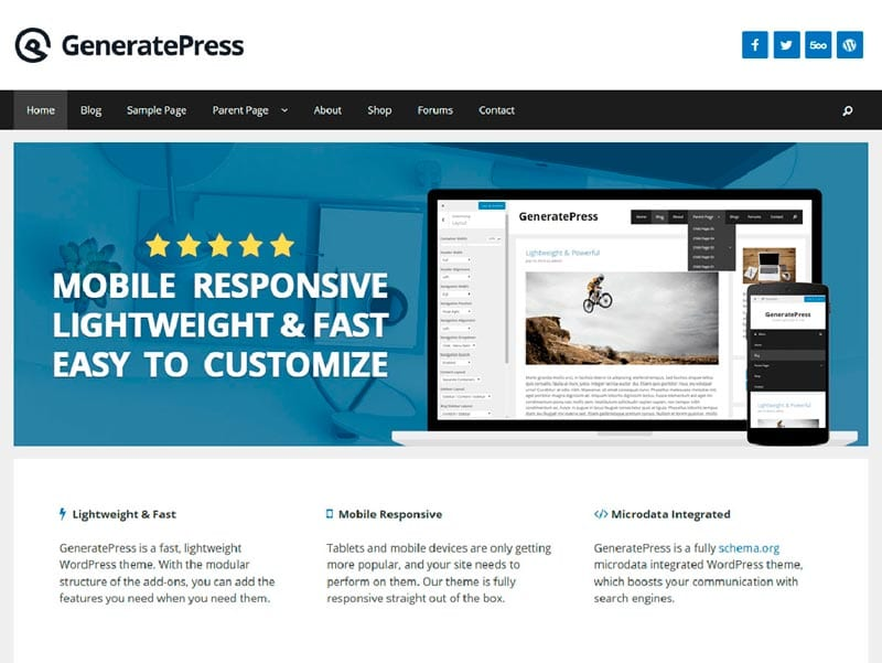 Plantillas WordPress gratis: GeneratePress