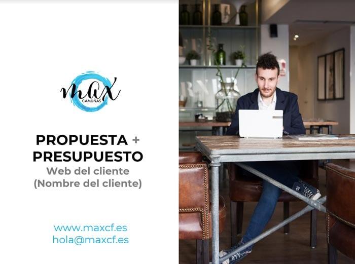 Cómo hacer un presupuesto: ejemplo Max Camuñas