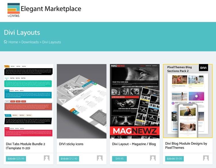 Plantillas para Divi: Elegant Marketplace