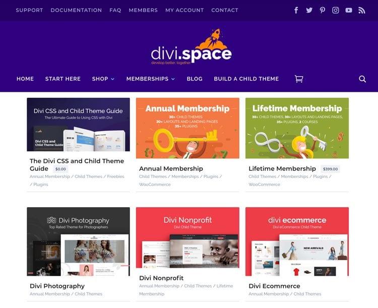 Plantillas para Divi: Divi Space