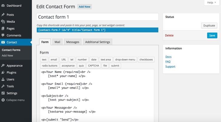 8 herramientas y plugins para crear formularios de contacto en WordPress: Contact Form 7