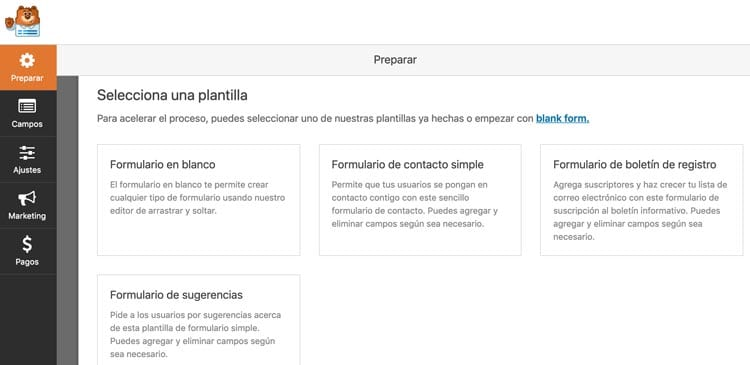 9 herramientas y plugins para crear formularios de contacto en WordPress: Contact Form by WPForms