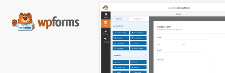 herramientas y plugins para crear formularios de contacto en WordPress: Contact Form by WPForms