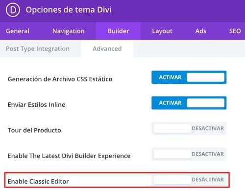 Volver al editor clásico de WordPress en Divi: desactivar Gutenberg