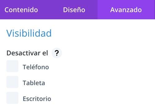 Opciones Divi: Visibilidad (escritorio, tableta y teléfono)