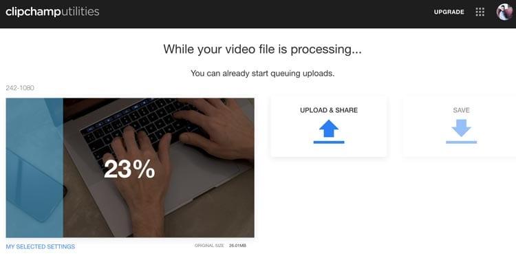 Comprimir vídeos online con Clipchamp