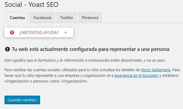 Configurar Yoast SEO: Social > Cuentas
