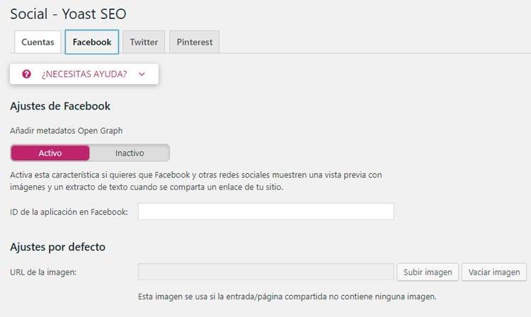 Configurar Yoast SEO: Facebook