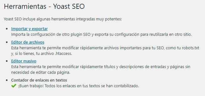 Configurar Yoast SEO: herramientas