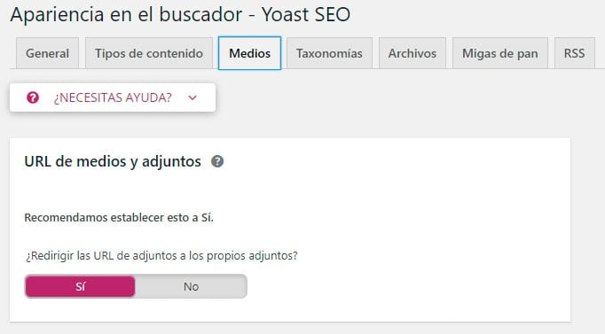 Configurar Yoast SEO: medios