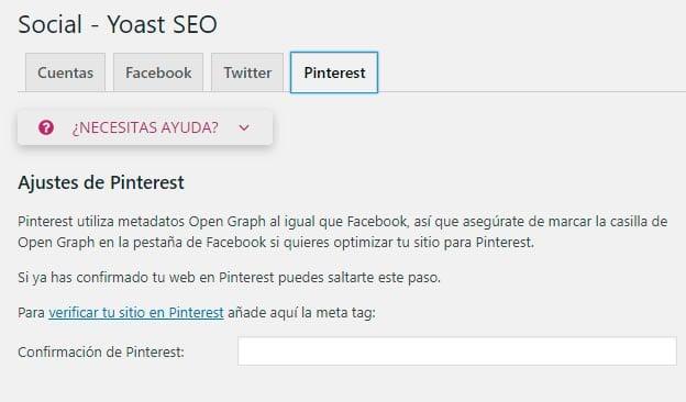 Configurar Yoast SEO: Pinterest