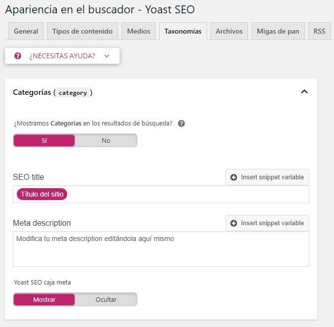 Configurar Yoast SEO: taxonomías