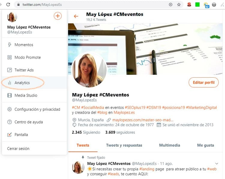 Estadísticas Twitter: Analytics