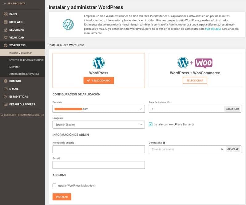 Funcionalidades SiteGround: instalador WordPress