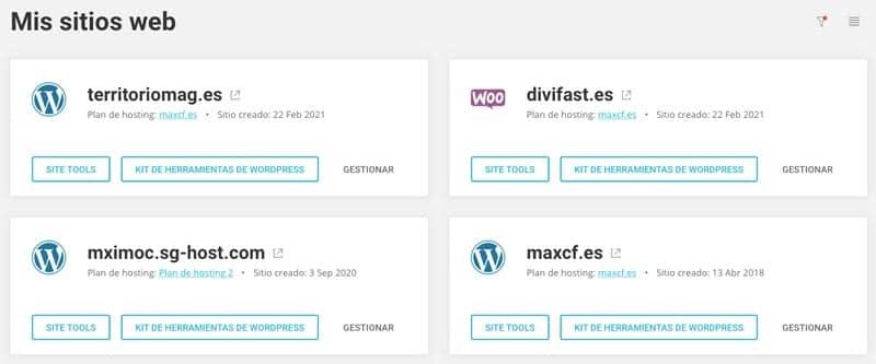 webs que tengo alojadas en siteground