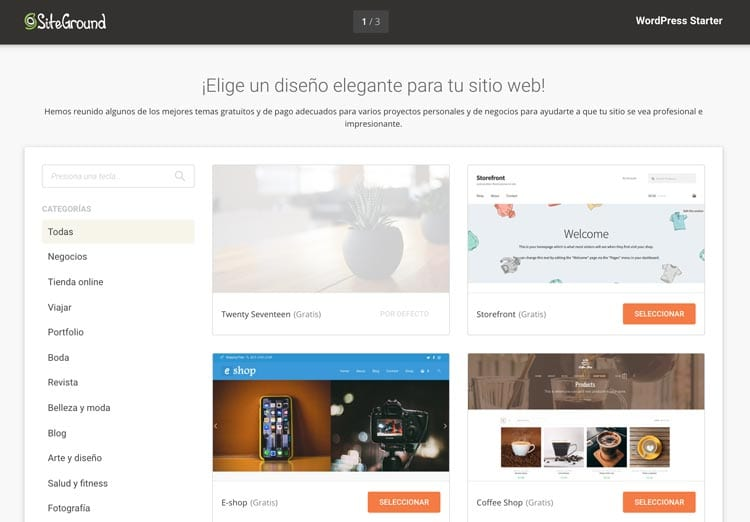 Funcionalidades SiteGround: WordPress Starter