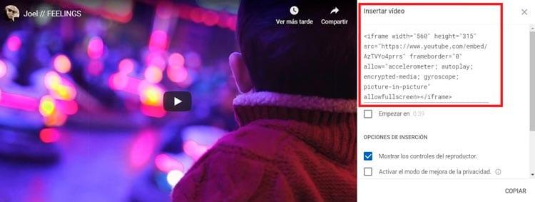 Cómo insertar un vídeo de YouTube