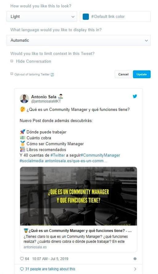 Insertar el widget de Twitter en tu web