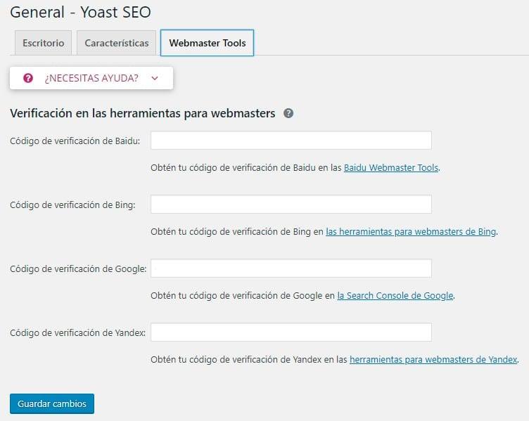 Configurar Yoast SEO: webmasters tools