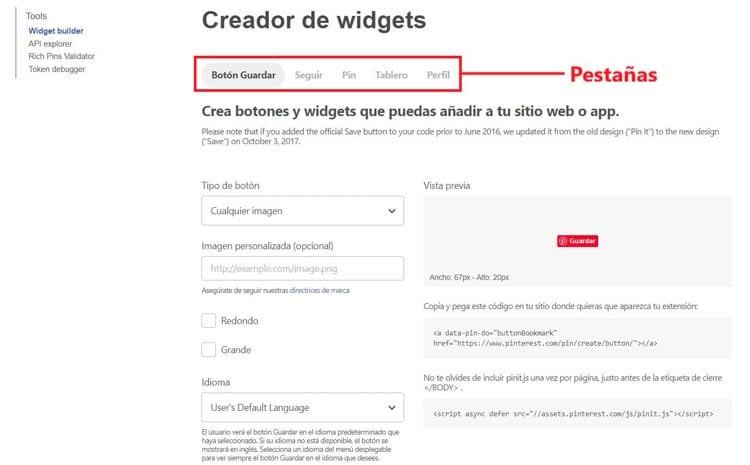 Widget Pinterest para web