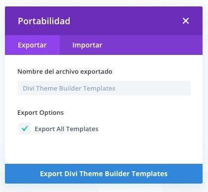 novedades de Divi 4.0: importar y exportar diseños