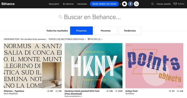 páginas donde descargar fuentes creativas para diseño gráfico: Behance