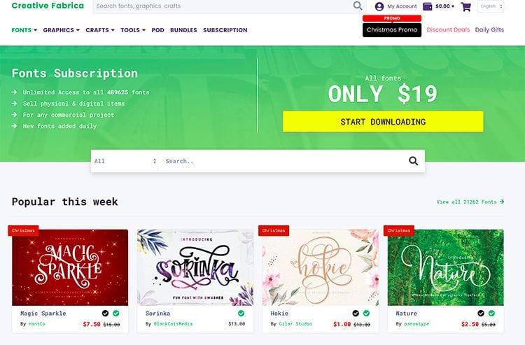páginas donde descargar fuentes creativas para diseño gráfico: Creative Fabrica